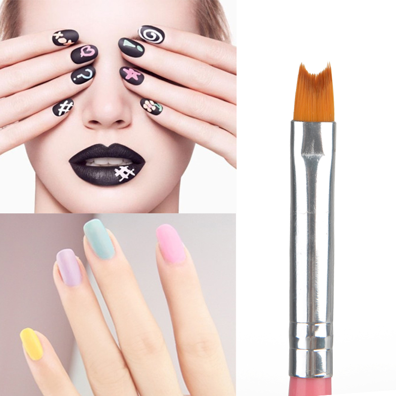 1Pc Pink French Nail Pen Brushes Plastic Handle Pen Nylon Hair Brush Nail Art Tool For Manicure Painting Drawing Design