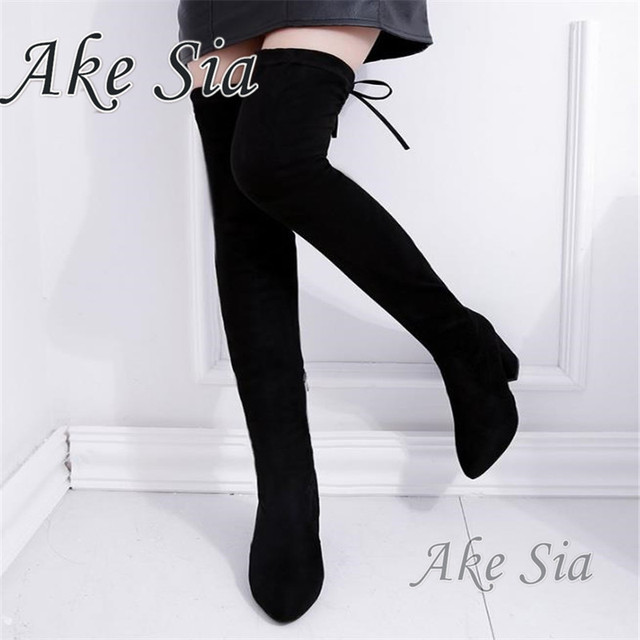 A New arrival Women Shoes Over Knee Thigh High Black Boots Female Motorcycle Square heel  Long Boots Low Heel  F217