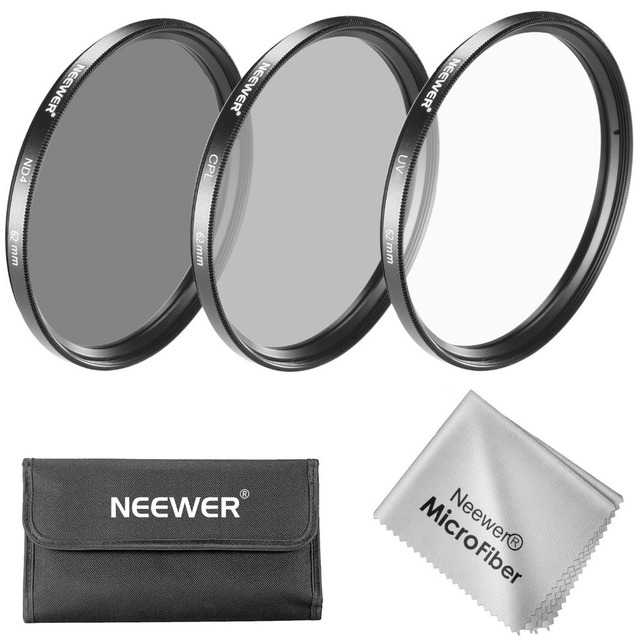 Neewer 62MM Lens Filter Kit:UV+CPL+ND4 Filter+Pouch+Cleaning Cloth for Pentax K-5 II+Sony A77 DSLR with 18-135mm f/3.5-5.6 lens