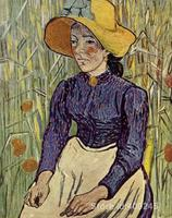 Famous art painting for living room Peasant Woman Against a Background of Wheat Vincent Van Gogh High quality Hand painted