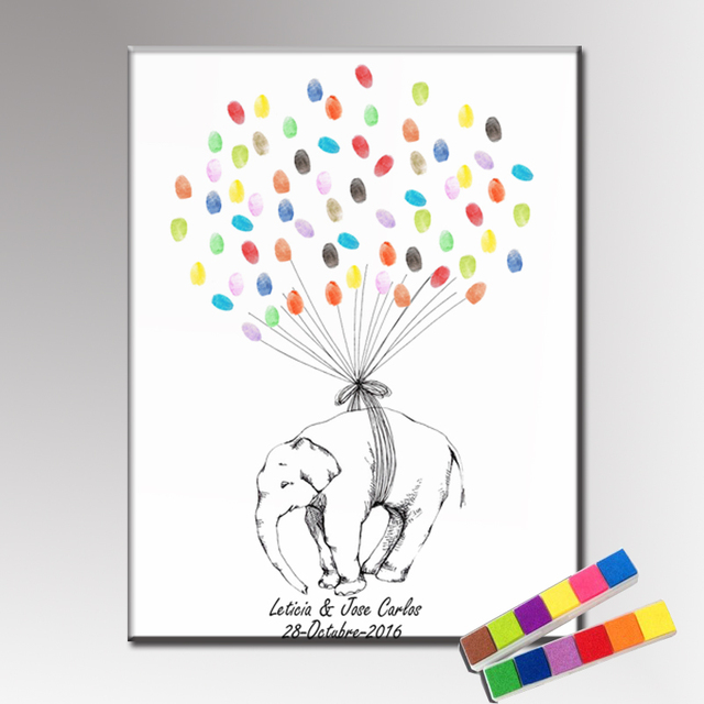 Aliexpress buy haochu birthday gift diy fingerprint guest haochu birthday gift diy fingerprint guest book wedding party event sign guestbook cute elephant canvas painting sciox Images