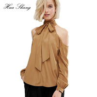 2016 New Arrival European Style Fashion Off Shoulder Long Sleeve Bow Lace Up High Neck Female