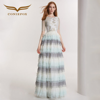 CONIEFOX 32180 Sexy green toast Festive sexy Ladies Retro elegance Appliques prom dresses party evening dress gown long