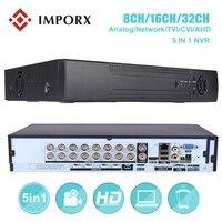 1080 P 4CH 8CH 32CH 5 в 1 видеорегистратор Регистраторы для AHD аналоговая камера IP Камера P2P NVR CCTV система DVR H.264 VGA HDMI