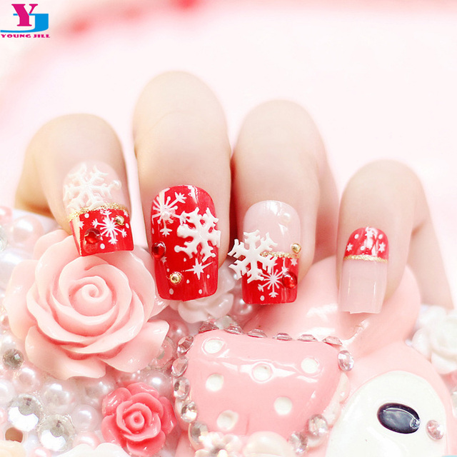 Beauty 24pcs Fake Nails With Christmas Snow Designs 3d Strass Unha