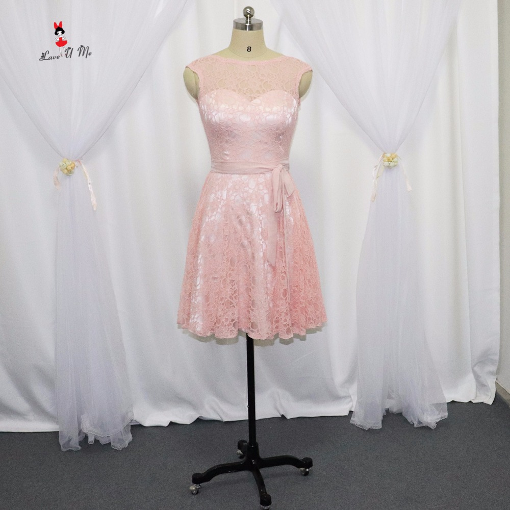 fast delivery enjoy bottom price well known US $73.6 20% OFF|Blush Pink Bridesmaid Dresses Short Lace Sash 2017 Wedding  Party Girls Dress for Weddings Prom Wear V Back Vestidos de Formatura-in ...