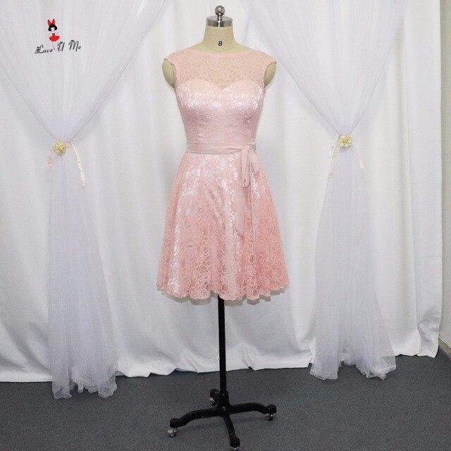 Blush Pink Bridesmaid Dresses Short Lace Sash 2017 Wedding Party ...