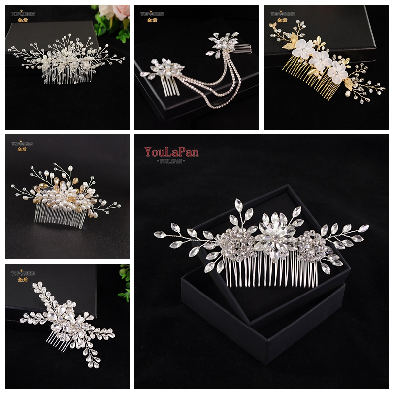 TOPQUEEN Bridal Hair Comb For Wedding Rhinestone Bridal Hair Accessories Beads Bridal Hair Comb Small Flower Bridal Hair Comb