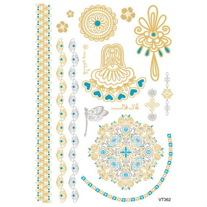 Pittura del corpo impermeabile orologio del tatuaggio adesivi In Metallo oro argento temporaneo flash tattoo donne e gli uomini braccialetto tatuaggi VT362