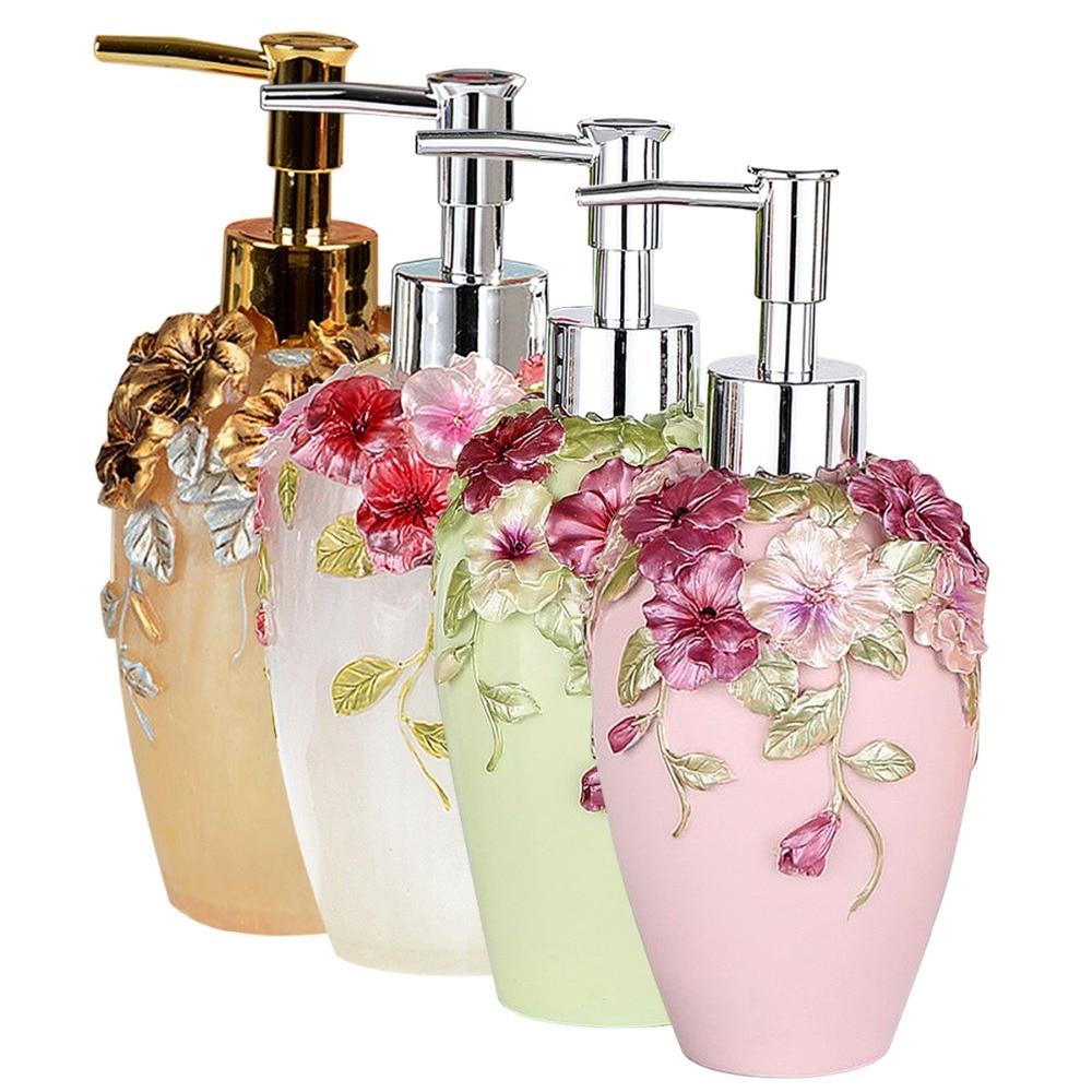 New Romantic 360ml Soap Lotion Dispenser 3D Floral Sculptured Pump Kitchen Bathroom Set Sanitizer Dispenser