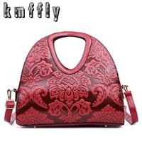 KMFFLY Fashion Embossed Flowers Bags Handbags Women Famous Brands Sac Femme Vintage Luxury Designer 2017 Woman