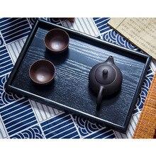 Черные деревянные прямоугольные подносы для чая, фруктов, кофе, десерта, отеля, ужина, поднос для хранения, декоративная тарелка
