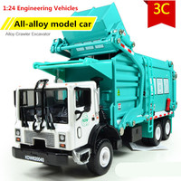 Favorite Model gift,Alloy Material truck, garbage truck,1:24 alloy Engineering Vehicles,Diecast metal cars,free shipping