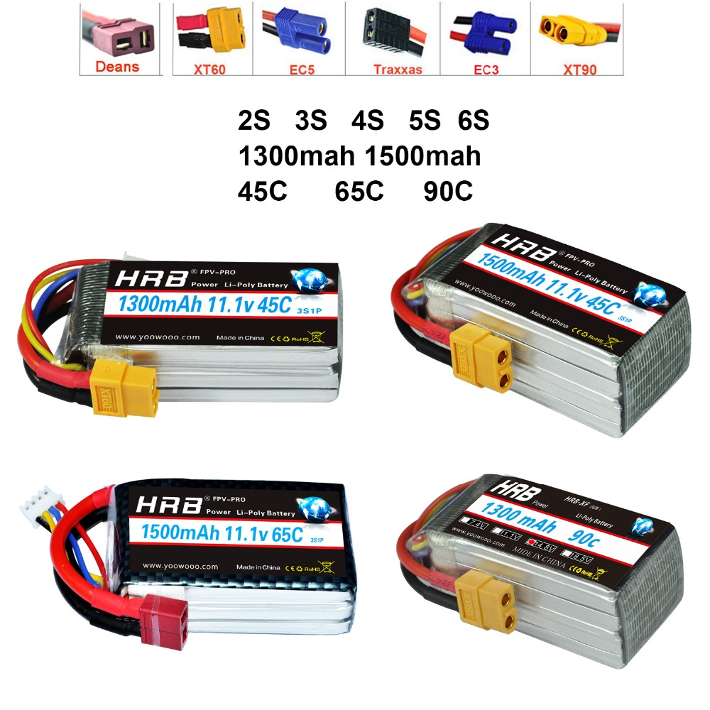 HRB Lipo Battery 2S 3S 4S 5S 6S 7.4V 11.1V 14.8V 18.5V 22.2V 1300mAh 1500mah 45C 65C 90C For Racing Drone FPV Quadcopter