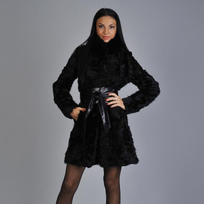 Popular Womans Black Fur Coats with Belt-Buy Cheap Womans Black