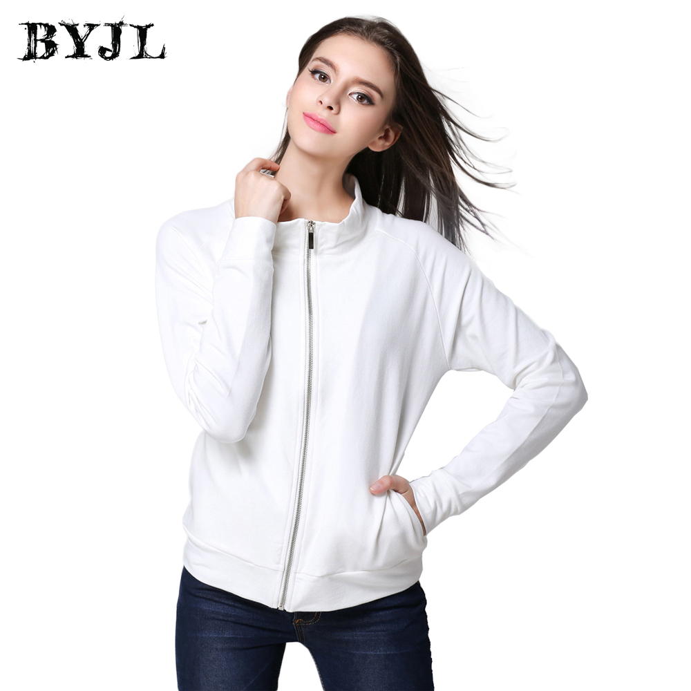 BJYL Zipper Long Sleeve   Jackets   Women Autumn Causal Windbreaker Solid White   Basic     Jacket   Women Plus Size Women Coat NSJ0001