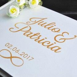 Spersonalizowana księga gości złota kaligrafia alternatywna księga gości niestandardowe nazwy i data dziennik ślubny rozmiar A5