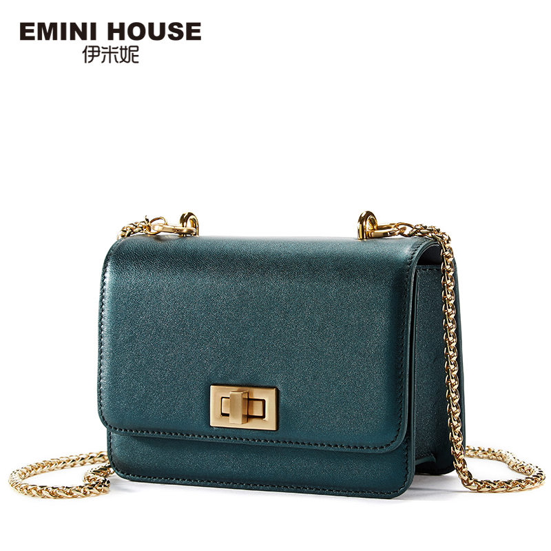 EMINI HOUSE Metal Color Women Genuine Leather Chain Bag Fashion Sheepskin Crossbody Bags for Women High Quality Shoulder Bag
