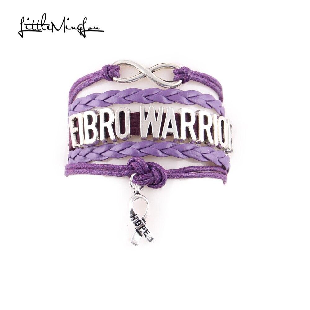 Little MingLou Infinity love Fibro Warrior bracelet ribbon hope charm awareness men bracelets & bangles for women jewelry