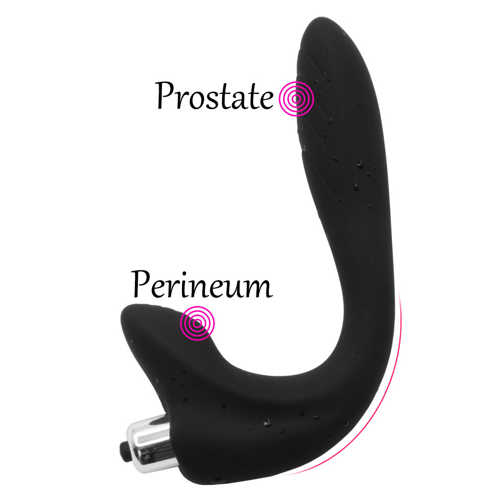 Male Silicone Vibrating Prostate Massager Sex Toys For P-Spot Anal Plug Vibrator with Removable 1 Speed Bullet ...