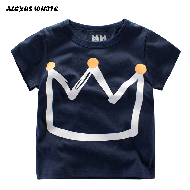 Summer Kids Boys T Shirt Crown Print Short Sleeve Baby Girls T-Shirts Cotton Childrens T-Shirt O-Neck Tee Tops Boy Clothes ...
