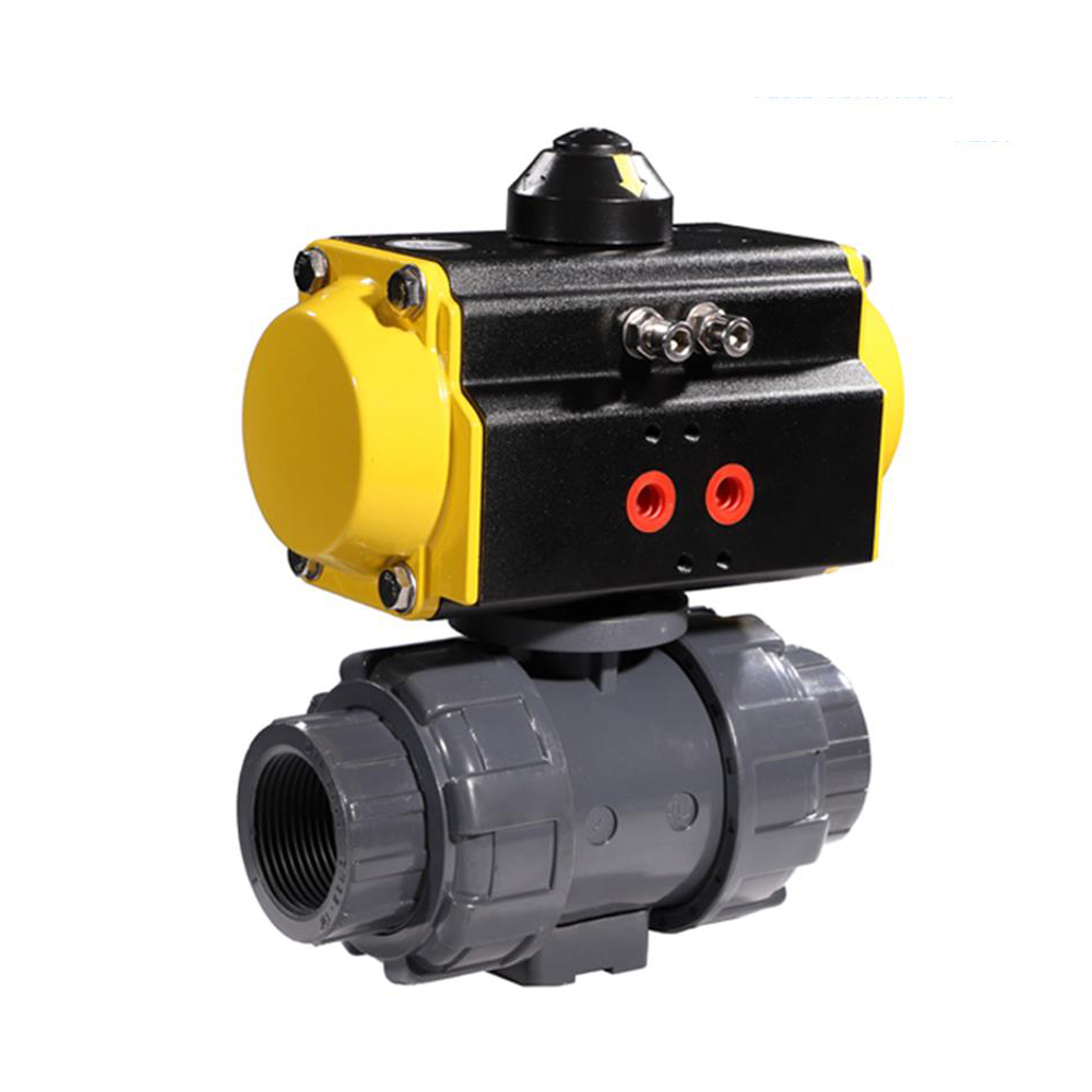COVNA 1/2'' Double Union Pneumatic Two Ways Ball Valve DN15 PVC Pneumatic Ball Valve Spring Returned-in Valve from Home Improvement    3