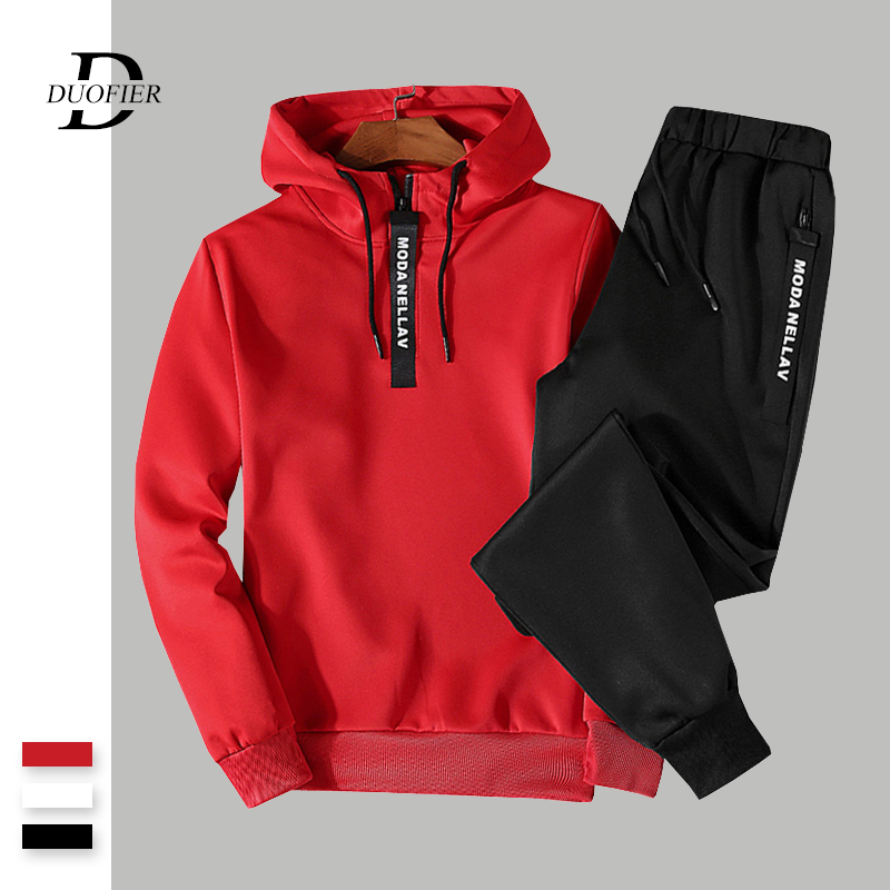 Mens Casual Tracksuit Autumn New Male Solid Loose Sets Sweatshirts+Pants 2PC Men's Sportswear Zipper Hooded Sportsuit Clothing