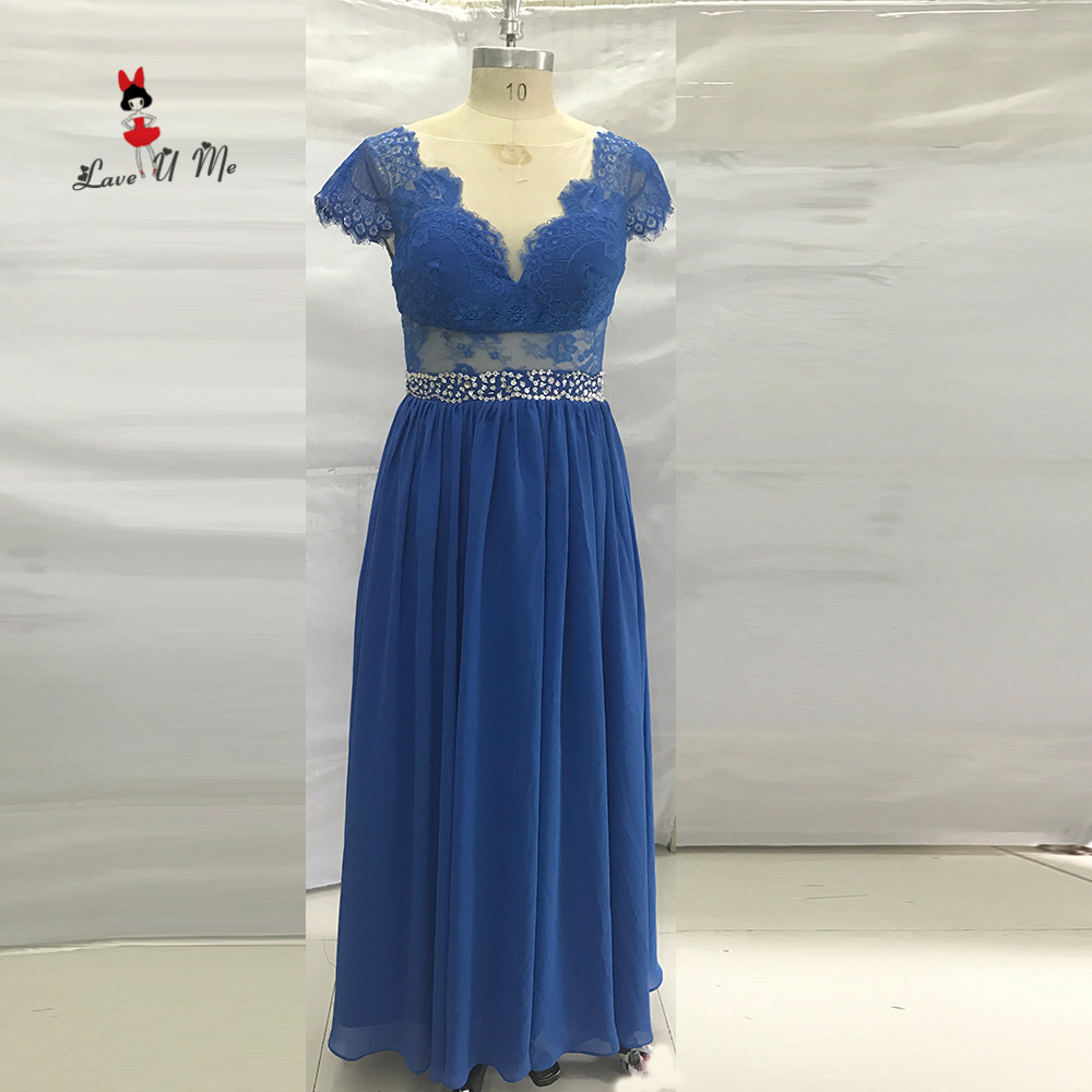 Blue Long Evening Gowns Lace Backless Beads African Prom Dresses ...