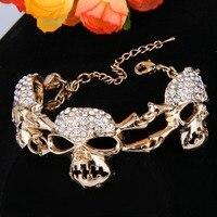 Tuliper Skull Bracelet Austrian Crystal Rhinestone Bracelets For Halloween Party Jewelry Women Men Bangles Christmas Gift