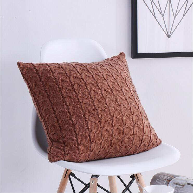 Free Shipping Knit Cushion Pillowcase 100 Cotton Cable Knit Throw