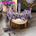 Dreamty Роскошный Сверкающий Фиолетовый Кристалл Цветок Свадебные Короны, Диадемы Серьги, Красивый Головной Убор Hairwear