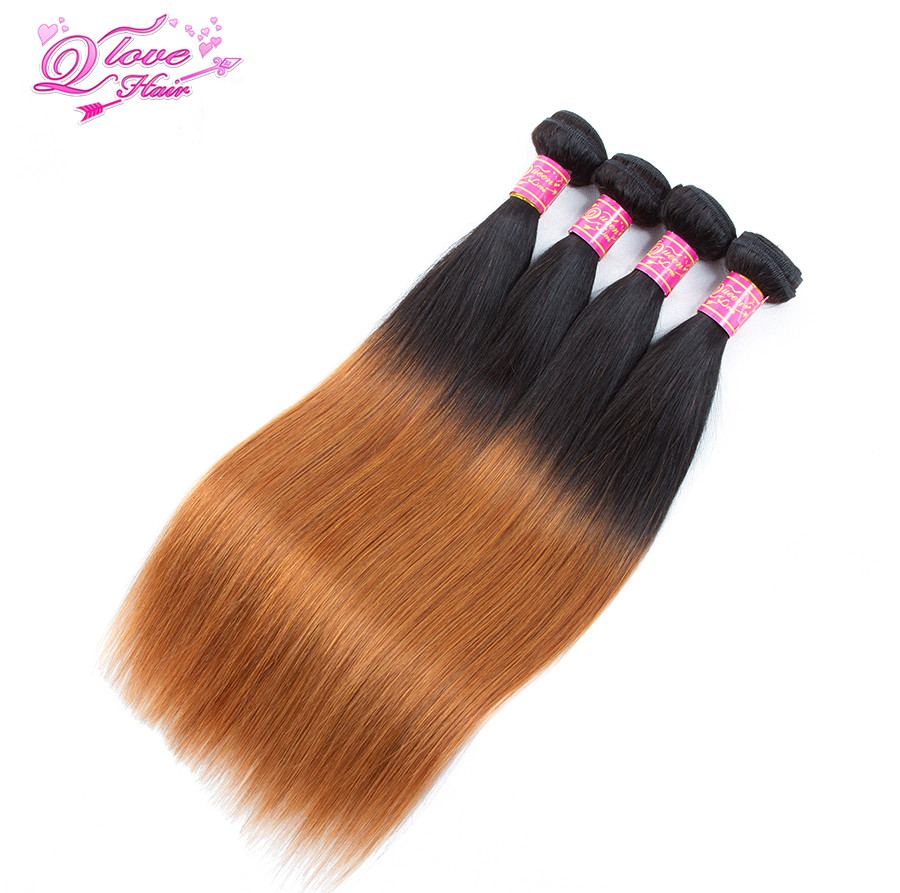 Queen Love Hair Pre-Colored 100% Human Hair Weave 4 Bundles Malaysian Straight Hair Weft 10-26 Inches Non-Remy Hair 1B/30 ...