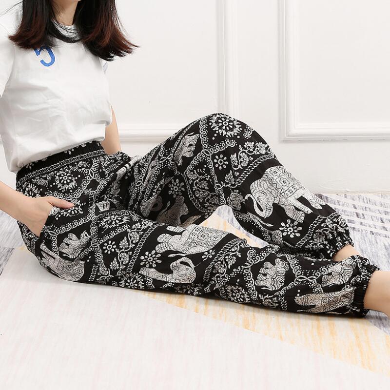 2019 new style elephant print   pants   women   Wide     leg     pants   for women Beach/Bloom/Summer / plus size   pants   women's summer trousers