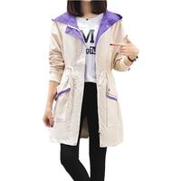 Trench coat for women 2019 new spring autumn medium long loose large size coat women's Tops bf baseball uniform windbreaker