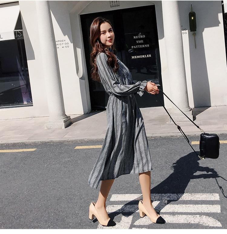 Women chiffon dress 2019 spring autumn female vintage print elegant a-line dress long sleeve loose casual office lady dress 16