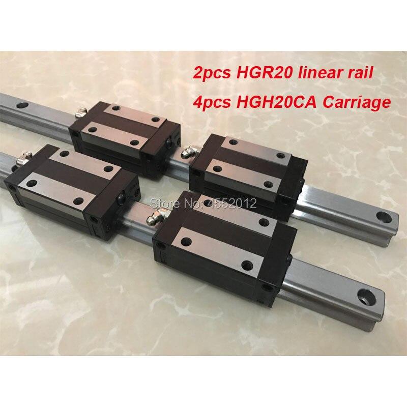 2 pcs linear guide rail HGR20 - 1100mm 1200 1500mm with 4 pcs linear block carriage HGH20CA CNC parts2 pcs linear guide rail HGR20 - 1100mm 1200 1500mm with 4 pcs linear block carriage HGH20CA CNC parts