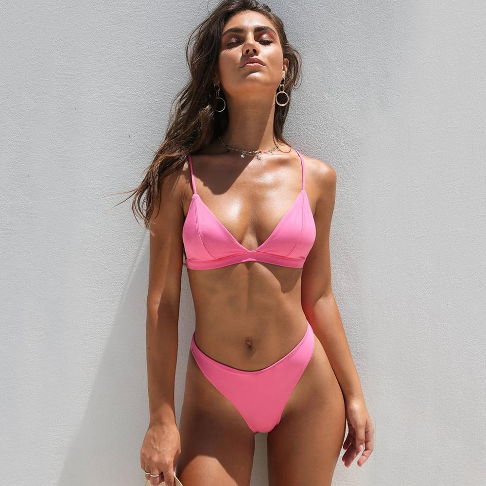 2019 Sexy Triangle Bikini Set Brazillian Swimsuit Mid Waist Solid Swimming Suit Separate Female Swimwear Female Swimming Biquini