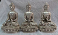 20.3 cm */Tibet Silver Dragon Buddhinsm 3 Shakyamuni Buddha Set Medicine buddha Statue decoration metal handicraft