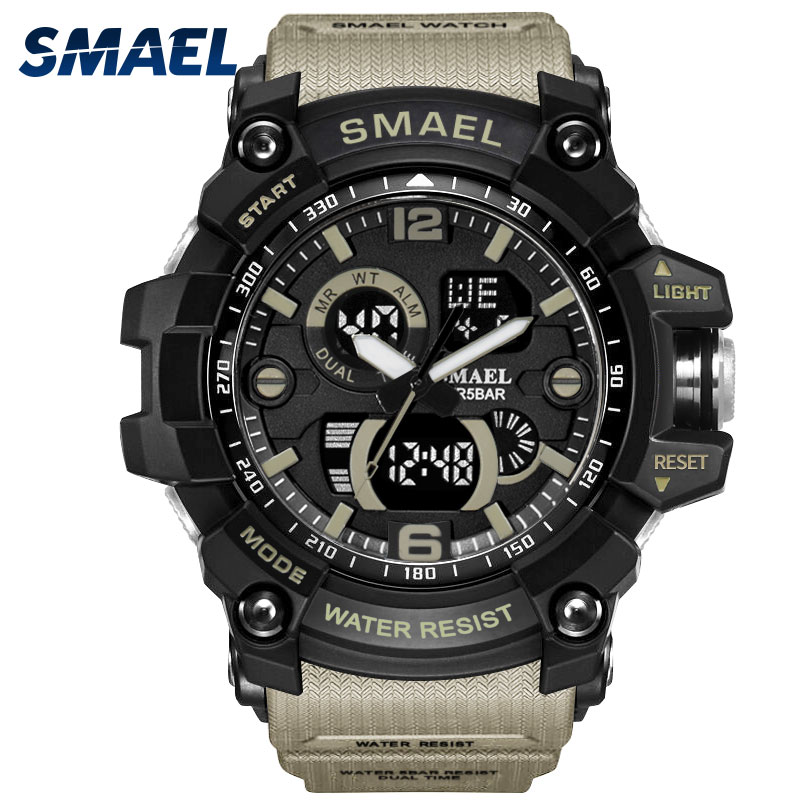 Smael Men Wrist Watch Gold Digital Mens Sport Watches Waterproof In 50M Led Clock 1617C Military Army