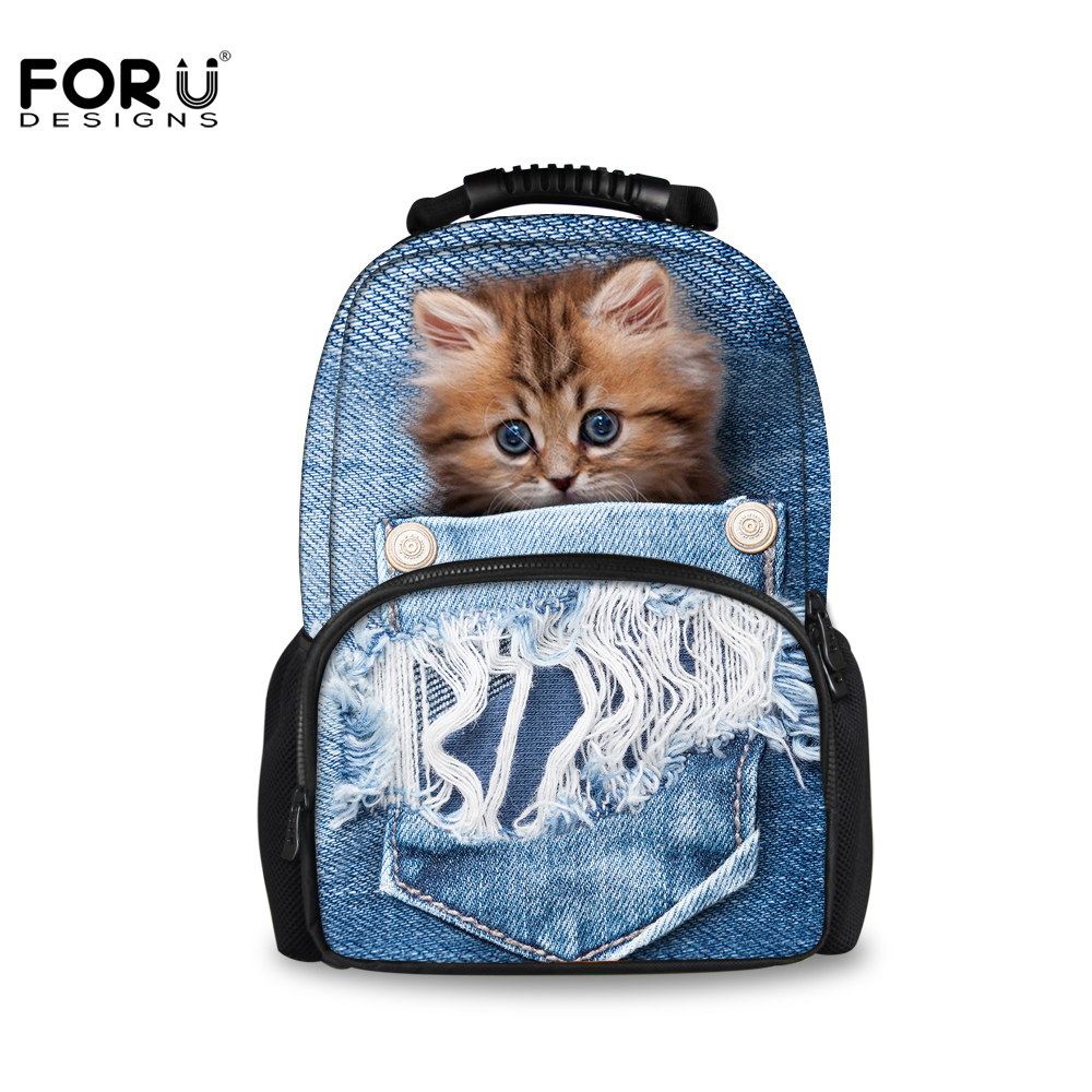 FORUDESIGNS Large Women Travel Backpack Denim Pocket 3D Animal Cat Dog Printing School Backpacks for Teenage Girls Boys Men Bags 2017 harajuku style galaxy cosmos zipper canvas women men backpacks printing school bags teens girls boys travel large mochila