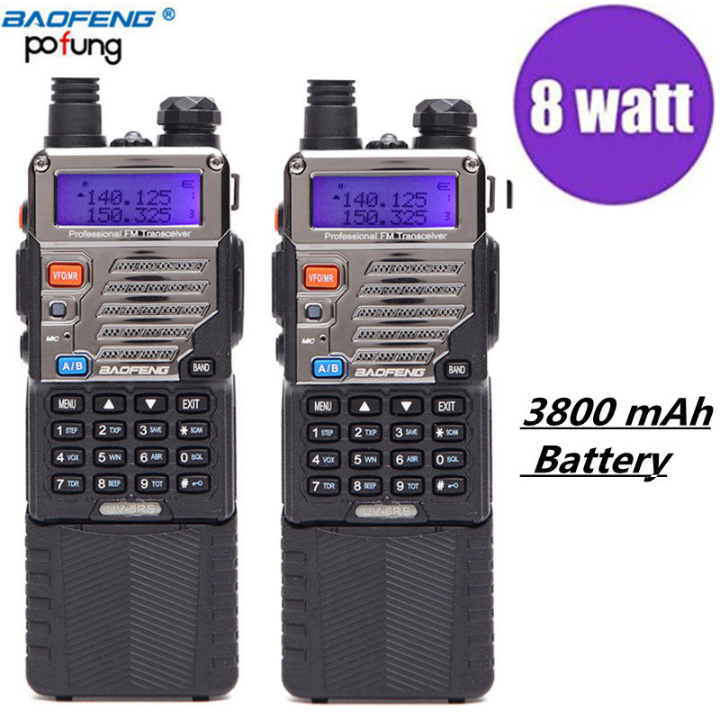 2 pcs Baofeng UV-5RE 8 w puissant talkie walkie haute Puissance 3800 mah 10 km uhf vhf 8 Watts longue gamme randonnée uv5r cb portable Radio
