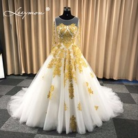 Luxury Muslim Scoop Ball Gown Wedding Dress In Dubai White And Gold Long Sleeves Beaded Wedding