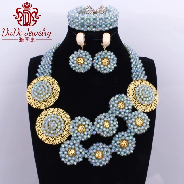 2017 Newest Colorful Mother Costume Beads Custom Turkish African Nigerian Wedding Jewelry Sets Crystal Necklace Set