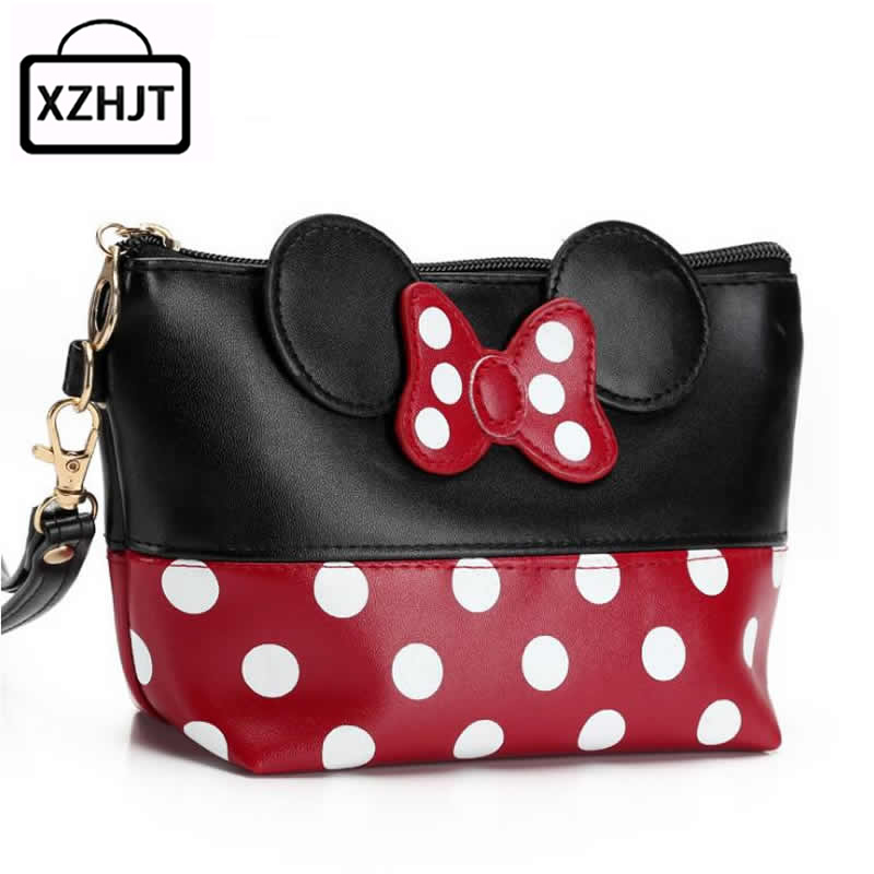 Travel Cosmetic Bag Cartoon Bow Makeup Case Women Zipper Hand Holding Make Up Handbag Organizer Storage Pouch Toiletry Wash Bags