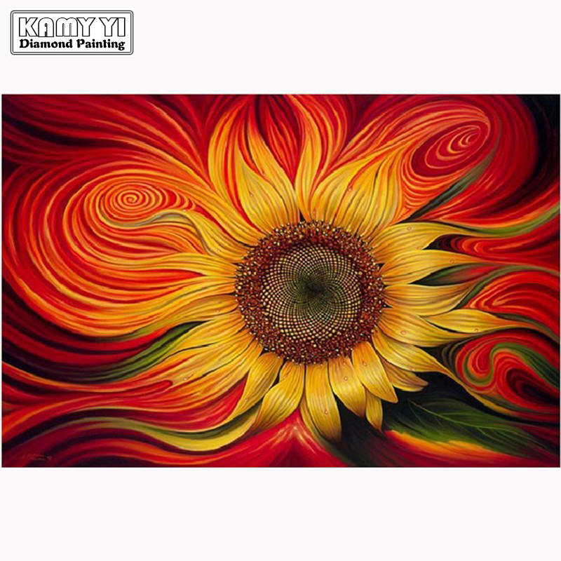 Diamond embroidery flower 5D diamond cross stitch crystal full diamond sets unfinished decorative Diy Diamond painting sunflower