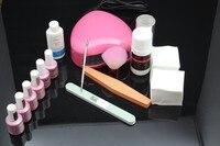 free shipping Russia chujie led gel polish Starter Kit Full Kit for DIY Home Nail Art Design Including led UV Lamp DIY nail set