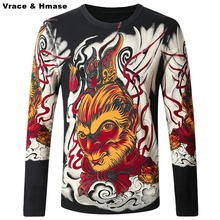 Chinese style monkey king pattern personalized printing font b men b font font b sweater b