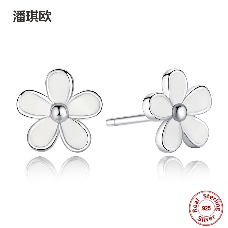 Fashion Retro Fine 925 Sterling Silver Darling Daisy Stud Earring White Enamel Compatible with pan jewelery