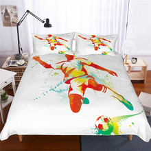 寝具セット 3D プリント布団カバーベッドセットサッカーホームテキスタイル大人のためのリアルな寝具枕 # ZQ01