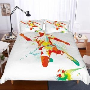 Image 1 - ชุดเครื่องนอน 3D พิมพ์ผ้านวมคลุมเตียงชุดฟุตบอลบ้านสิ่งทอสำหรับผู้ใหญ่เหมือนจริงผ้าปูกับปลอกหมอน # ZQ01